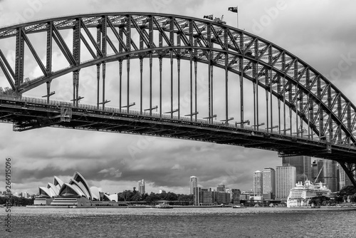 Black and white view of downtown Sydney seen from the amusement park