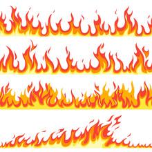 Seamless Fire Flame. Fires Flaming Pattern, Flammable Line Blaze Hot Temperature, Gas Blazing Wallpaper Cartoon Vector Textured Frames