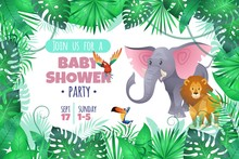 Tropical Baby Shower. Elephant Lion In Jungle, African Young Adorable Wild Animal And South Palm Tree Leaves Cartoon Vector Invitation