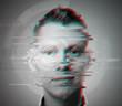 Leinwandbild Motiv glitch man face closeup