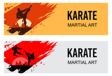 Martial Arts, Silhouette Of Tw...