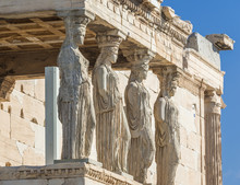 Caryatids Statues On A Porch Of Erechtheion Temple In Acropolis Of Athens, Greece