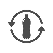 Recycle Plastic Bottle Silhouette Vector Icon Isolated On White Background. Say No To Plastic Bottles. Plastic Recycling And Stop Plastic Pollution To Save Environment And Ecology Of Earth