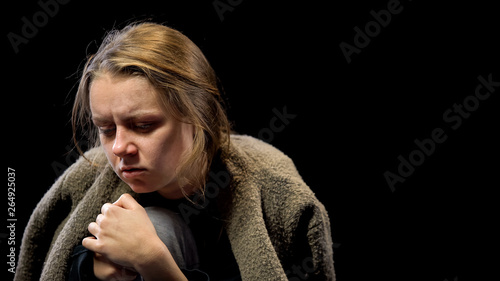 Photo Depressed woman suffering drug withdrawal symptoms, miserable life, addiction