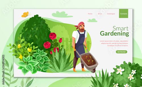 Fototapeta Gardening cartoon landing page obraz