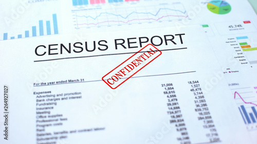 Census report confidential, hand stamping seal on official document, statistics Wallpaper Mural