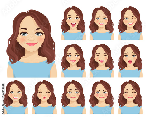 Foto Woman with different facial expressions set isolated