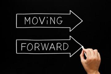Moving Forward Arrows Concept On Blackboard