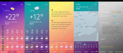 Fototapeta weather app screens line art modern design trendy style collection obraz
