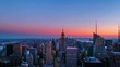 New York, USA. Aerial view on the city skyline in New York City, USA, on a warm sunny summer evening with clear sky. Time-lapse of skyscrapers at sunset