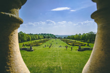 English Spring Garden View Cliveden House Through Columns