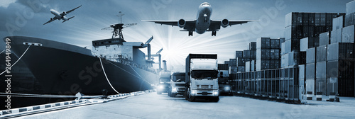 Valokuva  Double exposure of  logistic network distribution on background and Logistics In