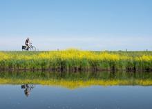 Man Rides Bicycle Along Water ...