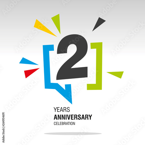 Платно  2 Years Anniversary colorful white modern logo icon banner holiday illustration