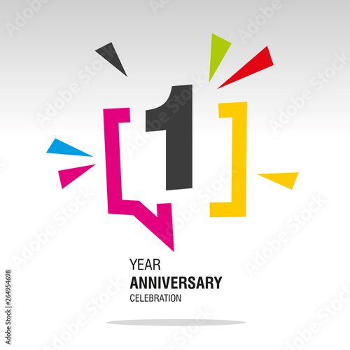 Fototapeta 1 Year Anniversary colorful white modern logo icon banner holiday illustration obraz