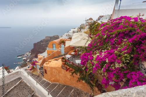 Poster de jardin Europe Méditérranéenne View of the village of Oia with bougainvillea in bloom on a rainy day