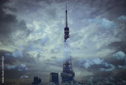 Keuken foto achterwand Nasa 雲の中のタワー