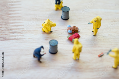 Miniature crime scene investigator with backpack on ground Wallpaper Mural