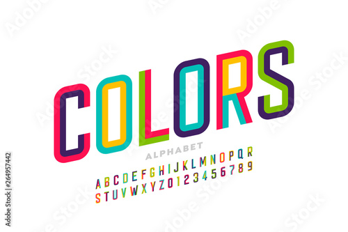 Valokuvatapetti Modern style colorful font design, alphabet letters and numbers