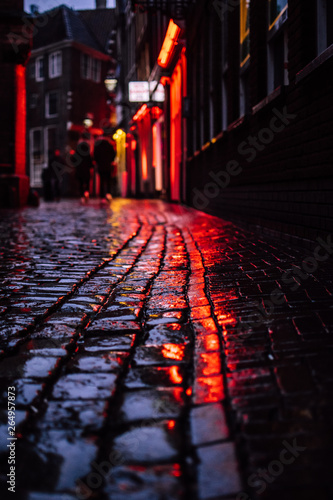Red ligths of a famous red light distict in Amsterdam, Netherlands Canvas Print