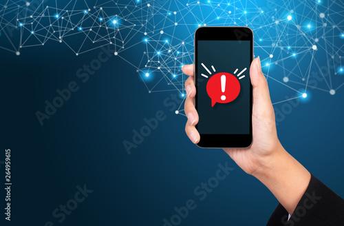 Obraz Concept of malware notification or error in mobile phone - fototapety do salonu