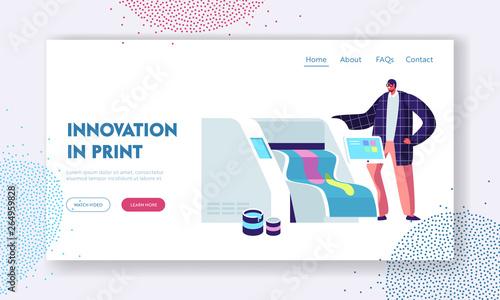Fotografía  Printshop or Printing Service Center with Man Work with Widescreen Offset Inkjet Printer