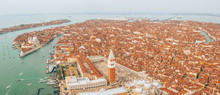 Aerial View Of Venice Panoramic Landmark, Aerial View Of Piazza San Marco Or St Mark Square, Campanile And Ducale Or Doge Palace. Italy