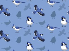 Blue Jay Cartoon Seamless Wall...