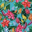 canvas print picture - Seamless floral pattern of tropical flowers and leaves.