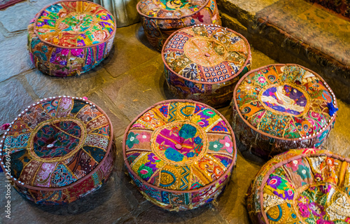 Fotografie, Obraz  colorful meditation pillows on the floor, seats in a spiritual center