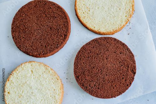 Sponge cake of chocolate on the table top view Fototapeta