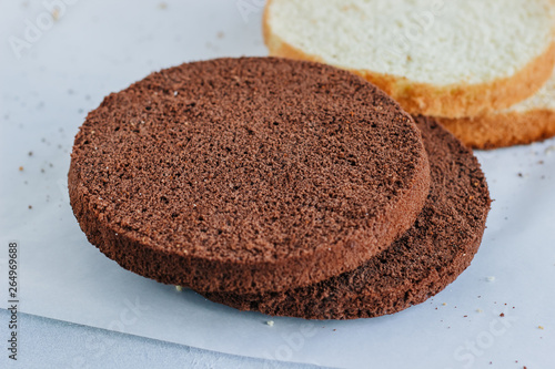 Sponge cake of chocolate on the table Wallpaper Mural