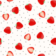Chia Pudding With Strawberry Slices Seamless Pattern. Organic Food Vector Illustration. Healthy Nutrition Concept. Vegetarian Food.