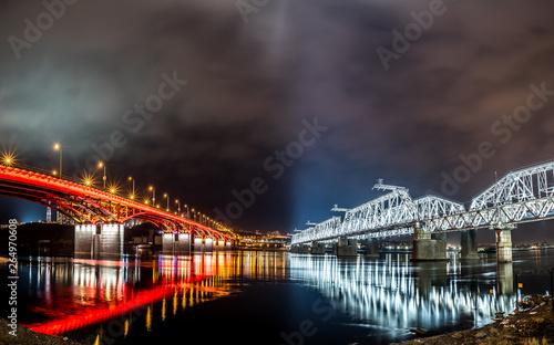 Fototapeta bridges at night in Krasnoyarsk obraz