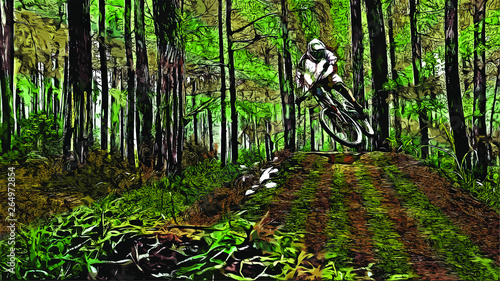 Fotografia Mountainbike Downhill Rider Artistic Illustration