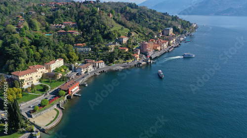 Fotobehang Liguria Aerial drone panoramic photo of famous lake Como one of the deepest in Europe, Lombardy, Italy