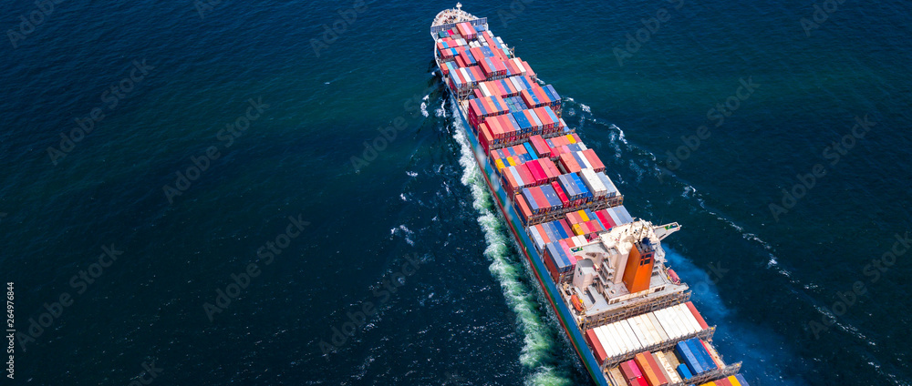 Fototapety, obrazy: Cargo ships with full container receipts to import and export products worldwide