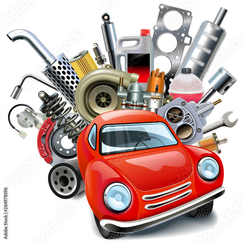 Photo Vector Red Automobile with Car Spares