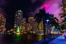 Colorful Night In Miami Riverw...