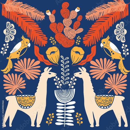 Illustration with llama and cactus plants Billede på lærred