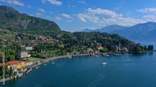 Fototapeta Aerial drone panoramic photo of famous beautiful lake Como one of the deepest in Europe, Lombardy, Italy obraz na płótnie