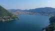 Aerial drone panoramic photo of famous beautiful lake Como one of the deepest in Europe, Lombardy, Italy