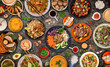 Leinwanddruck Bild - Asian food background with various ingredients on rustic stone background , top view.