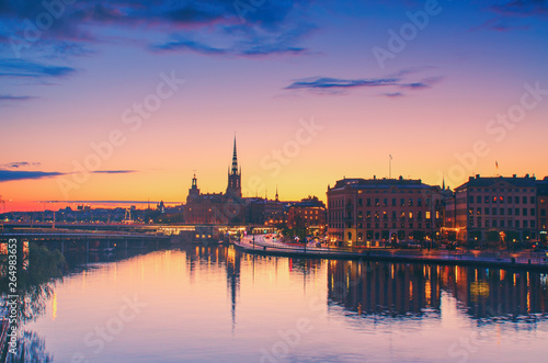 Foto auf AluDibond Stockholm Stockholm sunset view