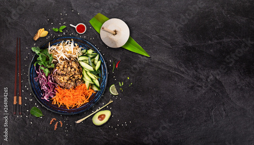 Bun bo nam bo asian food background with various ingredients on rustic stone Wallpaper Mural