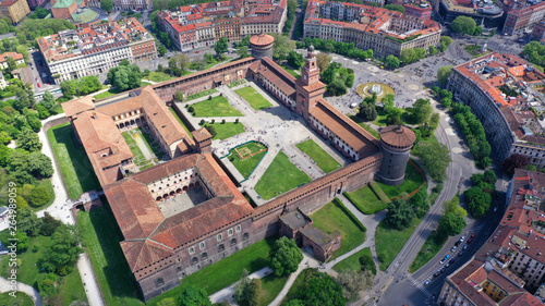 Autocollant pour porte Milan Aerial drone photo of iconic medieval Castle of Sforza or Castello Sforzesco and beautiful Sempione park in the heart of Milan, Lombardy, Italy