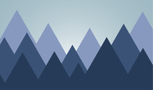 Silhouette Of The Mountain On Shadow Backgound. Background Vector Symbol