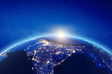 India sunrise from space