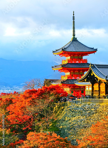 Wall Murals Kyoto View of the Kiyomizu-dera Temple on a sunny day in autumn in Kyoto, Japan.