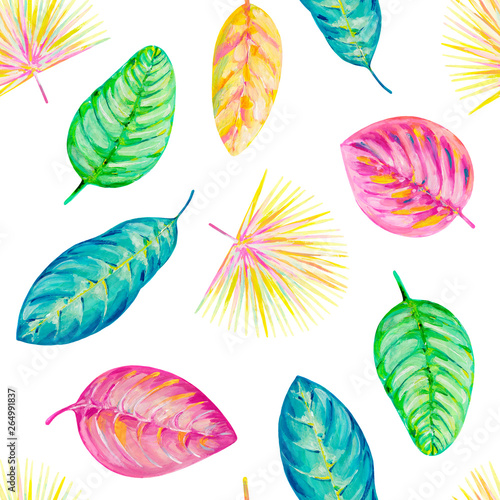 Gouache Seamless Pattern With Tropic Leaves Pattern 7 Hand
